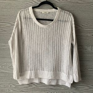 Madewell White Knit Scoop Neck Pullover Sweater